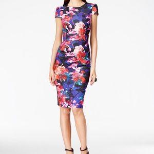 Betsey Johnson Stretch Floral Midi Dress